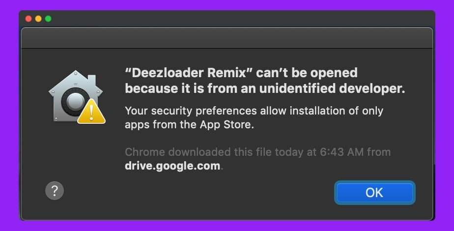 DeezLoader-Remix-Cannot-be-opened-because-it-is-from-Unidentified-Developer